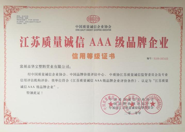 江苏质量诚信AAA级品牌企业
